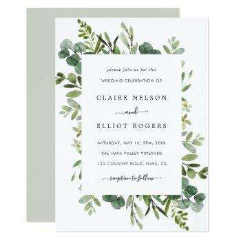 eucalyptus green foliage wedding invitation