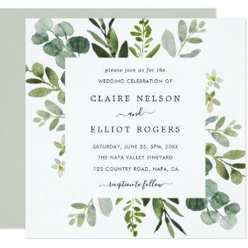eucalyptus green foliage wedding square invitation