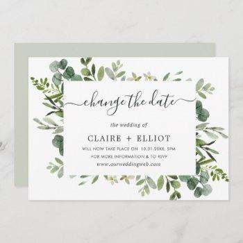 eucalyptus green wreath change the date wedding invitation
