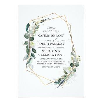 Small Eucalyptus Greenery Geometric Modern Wedding Invitation Front View