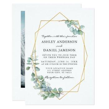 eucalyptus greenery gold frame photo wedding invitation