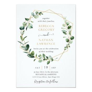 Small Eucalyptus Greenery Gold Geometric Frame Wedding Invitation Front View