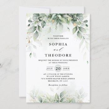 eucalyptus greenery gum botanical rustic  wedding invitation