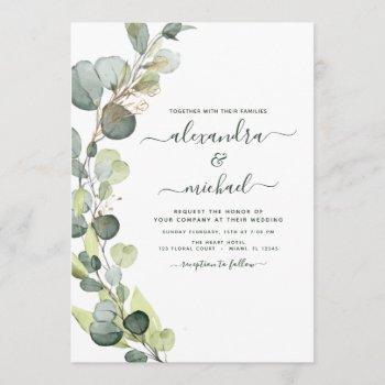 eucalyptus greenery succulent elegant wedding invitation