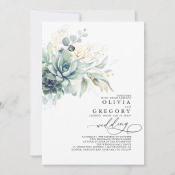 eucalyptus greenery succulents and gold wedding invitation