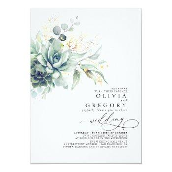 Small Eucalyptus Greenery Succulents And Gold Wedding Front View