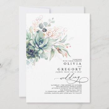 eucalyptus greenery succulents rose gold wedding invitation