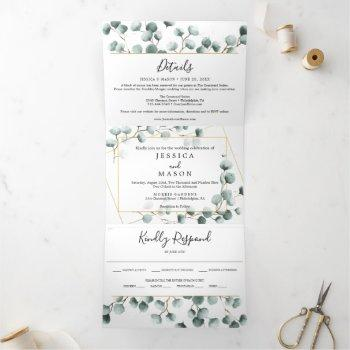 eucalyptus greenery wedding tri-fold invitations