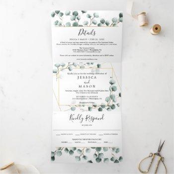 eucalyptus greenery wedding tri-fold invitations