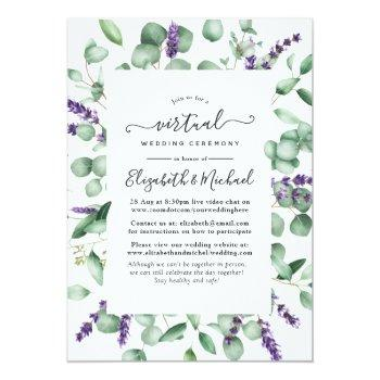 Small Eucalyptus Lavender Greenery Virtual Wedding Invitation Front View