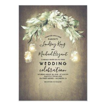 Small Eucalyptus Leaves Greenery Rustic Country Wedding Invitation Front View