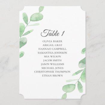 eucalyptus leaves. simple wedding seating charts invitation
