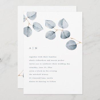eucalyptus simplicity   wedding invitation