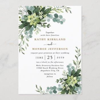 eucalyptus succulent elegant boho greenery wedding invitation