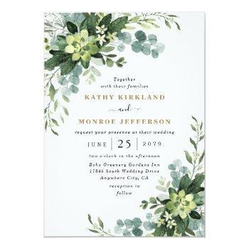 Small Eucalyptus Succulent Elegant Boho Greenery Wedding Invitation Front View