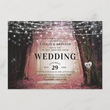 evermore   enchanted fairy forest   pink wedding invitation