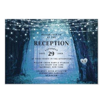 evermore | enchanted forest blue wedding reception invitation