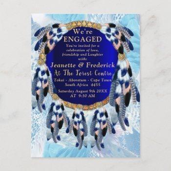 exotic blue dream catcher engagement invitation postcard