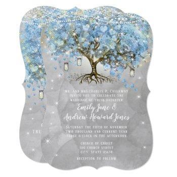 fairy lights blue heart leaf tree watercolor invitation