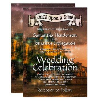 fairy tale castle sunset orange fantasy wedding invitation