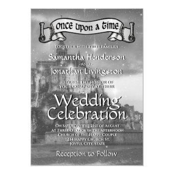 fairy tale castle wedding invitation black & white