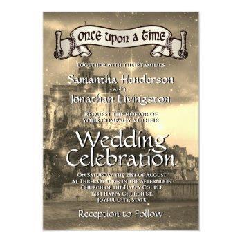 fairy tale castle wedding invitation sepia