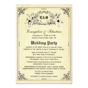 fairy tale storybook wedding programs