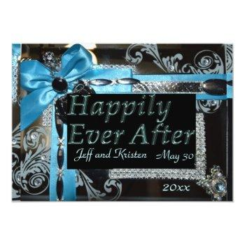 fairy tale wedding- light blue, black and silver invitation