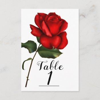 fairy tale wedding storybook red rose table number