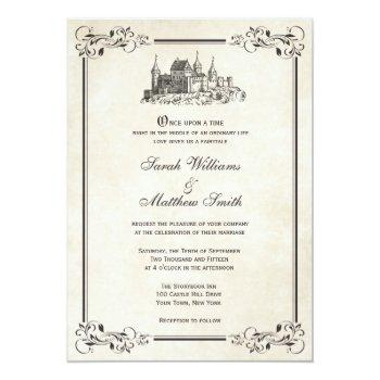 Small Fairytale Castle Wedding Invitations Front View