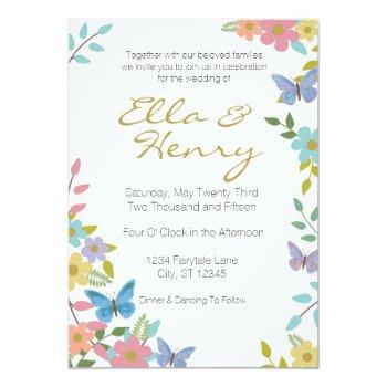 "fairytale floral wedding invitation 5"" x 7"""