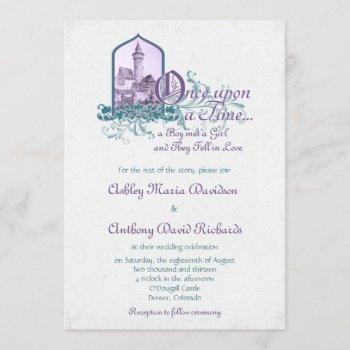 fairytale purple teal castle once upon wedding invitation