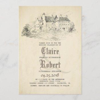 fairytale - story book old castle vintage wedding invitation