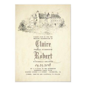 fairytale - story book old castle vintage wedding invitation