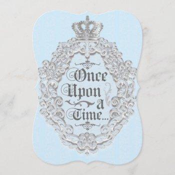 fairytale vintage storybook blue invitation