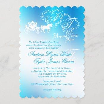 fairytale wedding carriage peacock blue invitation
