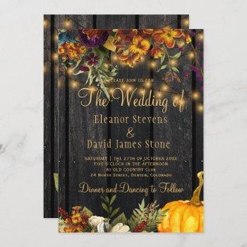 fall autumn rustic barn wood floral wedding invitation