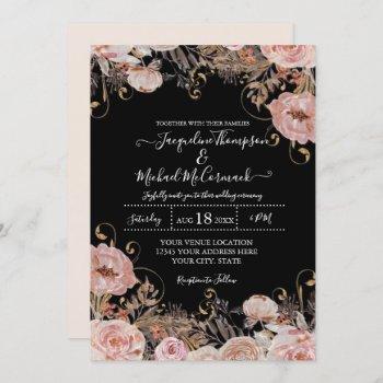 fall black blush pink watercolor floral rose gold invitation