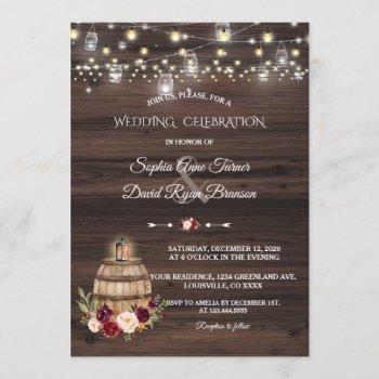 fall burgundy marsala wine barrel floral wedding invitation