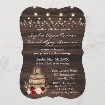 fall burgundy wine barrel floral barn wedding invitation