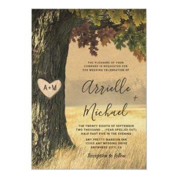 Small Fall Carved Oak Tree Country Rustic Forest Wedding Invitation Front View