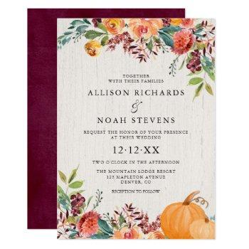 fall floral and pumpkins watercolor wedding invitation
