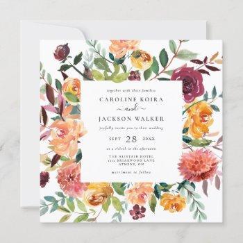 fall floral square wedding invitation