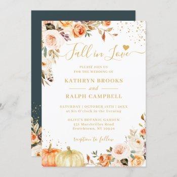 fall in love autumn gold floral pumpkin wedding invitation