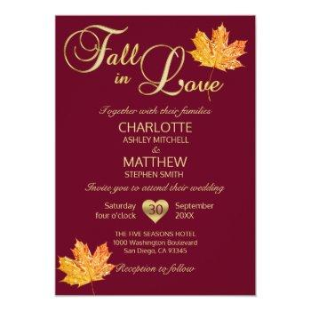 fall in love burgundy marsala maroon maple wedding invitation