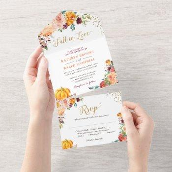 fall in love pumpkin botanical floral gold wedding all in one invitation