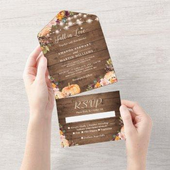 fall in love rustic autumn floral pumpkin wedding all in one invitation