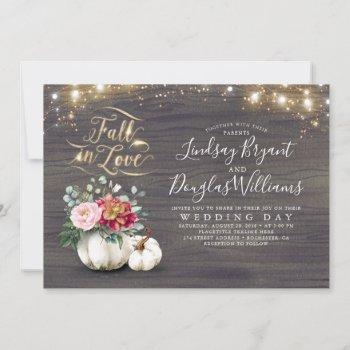 fall in love white pumpkin rustic fall wedding inv invitation