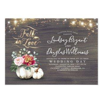 Small Fall In Love White Pumpkin Rustic Fall Wedding Inv Front View