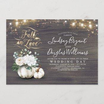 fall in love white pumpkin rustic fall wedding invitation